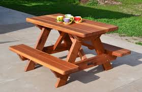 Round Redwood Picnic Table by Kid Size Wood Picnic Table With Attached Benches Forever Redwood