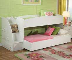 Bunk Beds With Stairs And Storage Bedroom White Solid Wood Low Bunk Bed With Step Stair And Storage