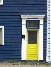 Blue House White Trim Front Door | yellow way in dark blue houses yellow doors and white trim