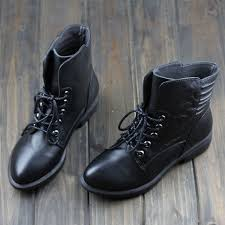 womens boots 100 s ankle boots 100 genuine leather flat black shoes