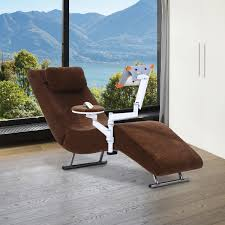 Single Sofa Bed Chair Homcom Single Sofa Bed Lounger W Laptop Holder And Pillow Brown