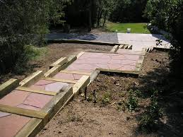Flagstone Walkway Design Ideas by Timber Retaining Wall With Rose Flagstone Walkway Designed By