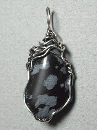 obsidian color snowflake obsidian stone pendant wire wrapped 925 sterling silver