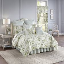 Green And Gray Comforter Waverly Fleuretta Green And Blue Reversible 4 Piece Cotton