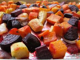 oven roasted root vegetables colorful seasonal