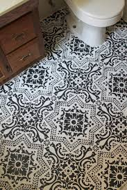 Bathroom Tile Flooring by Black U0026 White Stenciled Bathroom Floor Life On Shady Lane