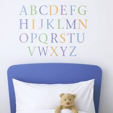 childrens alphabet wall stickers upper and lower pastel by childrens alphabet wall stickers upper and lower pastel