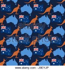 blue map australia with silhouette kangaroo vector illustration
