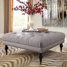 Button Tufted Ottoman Classic Soft Grey Square Button Tufted Ottoman With Nailhead Trim