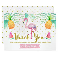 Thank You Cards For Baby Shower Gifts - flamingo thank you cards greeting u0026 photo cards zazzle