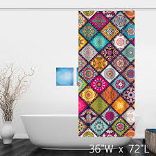 Shower Curtain Custom Multi Colored Floral Background With Mandalas Shower Curtain