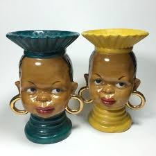 African Vases Ethnic African Tribal Lady Head Vase In Yellow From Headsupvintage