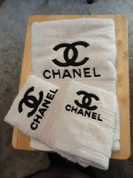 Decorative Hand Towels For Powder Room Chanel Inspired Embroidered Bath Towel Set Bath Towel Hand