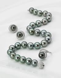 green necklace set images Tahitian green pearl necklace set 13 mm to 15 mm jpg