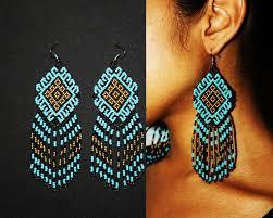 Native American Beaded Earrings Huichol Turquoise Gold Aztec Earrings Traditional Beadwork Native