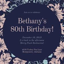 vintage floral patterned 80th birthday invitation templates by canva