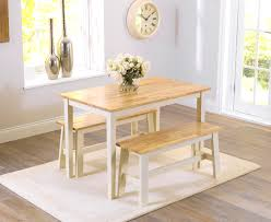 Bench Dining Set Chiltern 115cm Oak And Cream Dining Set With 2 Benches Fantastic