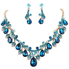 blue crystal statement necklace images Brilove women 39 s wedding bridal statement necklace jpg