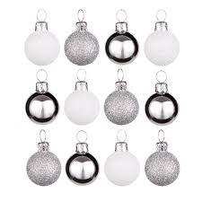 silver white baubles pack of 12 departments diy at b q