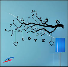 hearts love wall art stickers wall art stickers decors plants tree love hearts birds l13