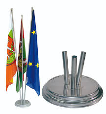 Flag Distributors Flagholder Indoor Floor Standing Flagholder Silver With 3 Arm Matt
