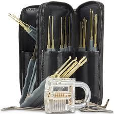 daniu 24pcs single hook lock pick set with 1pc transparent lock