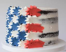 Red White Flag With Blue Star Buttercream Stars And Stripes Flag Cake Erin Bakes