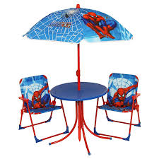 patio table chairs umbrella set kids spiderman garden patio outdoor summer furniture table chairs