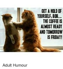Friday Adult Memes - get a hold of yourselfbob the coffee is almost ready and tomorrow