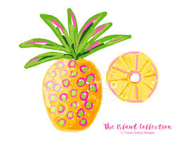 preppy pineapple clip art original art download whimsical