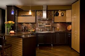 Mid Century Kitchen Cabinets Stylish Single Bulb Glass Covers Pendant Lamps Over Dark Polished