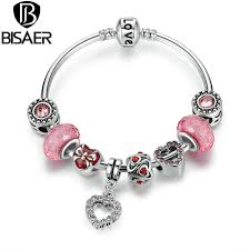 heart charm bangle bracelet images Buy female bracelet silver pink heart charms jpg