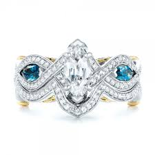 engagement rings london custom two tone london blue topaz and white sapphire engagement ring