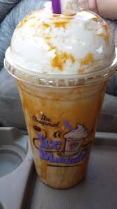 Coffee Bean Blended caramel blended coffee with lots of caramel syrup picture of