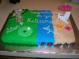 retirement cake with golf and beach scenes cakecentral com