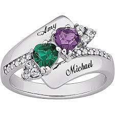 sterling silver name rings personalized s heart birthstone name ring in