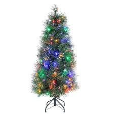 4 multi colored led fiber optic artificial tree