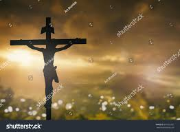 silhouette jesus christ on cross background stock photo 391662202