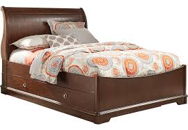 cherry sleigh bed oberon cherry 4 pc full sleigh bed with trundle trundle beds