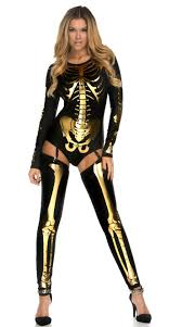 black and gold skeleton print bodysuit halloween costume n11216