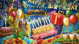 happy birthday party cake candles confetti balloons party hd