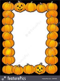 illustration of halloween frame with pumpkins