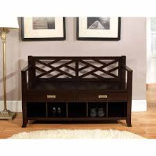 decor dark wood entryway storage bench with floor lamp and white
