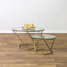 Glass And Gold Coffee Table Walker Edison Furniture Company Geometric Glass Nesting Gold
