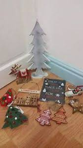 lot1 wooden decorations tree reindeer house