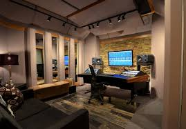 Recording Studio Desk Design by Interior Modern Red Accent Home Music Recording Studio Inetrior