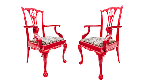 red lacquered chinese chippendale arm chairs a pair on chairish