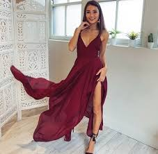 burgundy long v neck chiffon prom dress with slit shedress