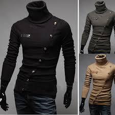 winter warm men u0027s pullover knitwear high collar buttons sweater at