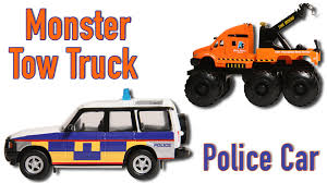 police jeep toy monster tow truck and police jeep learn vehicles with toys